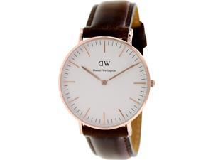 Daniel Wellington Women's Bristol 0511DW Brown Leather Quartz Watch with White Dial