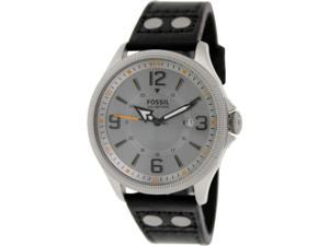 Fossil Mens Recruiter FS4937 Black Leather Quartz Watch with Grey Dial
