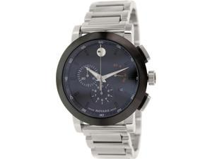 Movado 0606792 Men's Museum Silver Stainless-Steel Swiss Quartz Watch with Black Dial