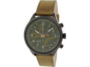 Timex Men's Intelligent Quartz T2P381 Brown Leather Analog Quartz Watch with Green Dial