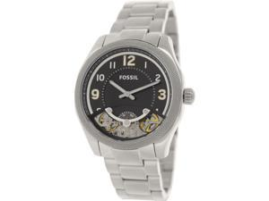 Fossil Men's ME1149 Silver Stainless-Steel Automatic Watch with Black Dial