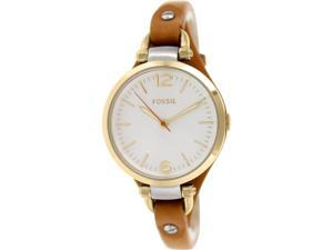 Fossil Women's Georgia ES3565 Brown Leather Quartz Watch with Mother-Of-Pearl Dial