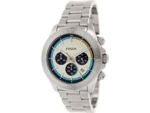 Fossil Men's Retro Traveler CH2916 Silver Stainless-Steel Quartz Watch with White Dial