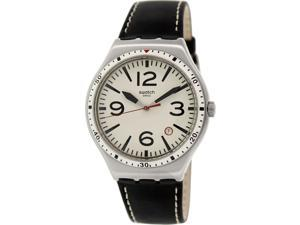 Swatch Men's Irony YWS403C Black Leather Swiss Quartz Watch with Beige Dial