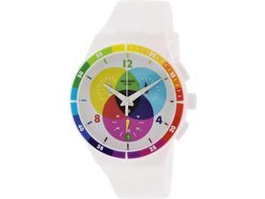 Swatch Men's Originals SUSW404 White Rubber Swiss Quartz Watch with White Dial