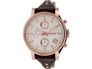 Fossil Women's Boyfriend ES3616 Brown Leather Quartz Watch with White Dial