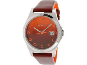 Marc By Marc Women's Slim MBM1319 Red Leather Quartz Watch with Orange Dial