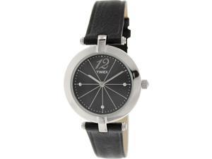 Timex Women's Greenwich T2P544 Black Leather Quartz Watch with Black Dial