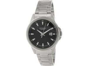Citizen Men's BI1010-51E Silver Stainless-Steel Quartz Watch with Black Dial
