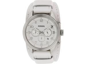 Fossil Men's Asher BQ1035 White Leather Quartz Watch with Silver Dial