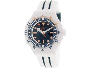 Swatch Men's Originals SUUK402 Clear Rubber Swiss Quartz Watch with Blue Dial