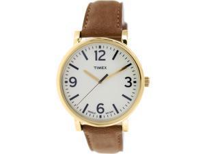 Timex Mens Originals T2P527 Brown Leather Analog Quartz Watch with Beige Dial