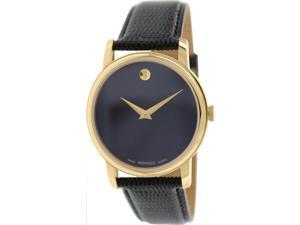 Movado 2100005 Museum Black Dial Black Leather Band Men's Quartz Analog Watch
