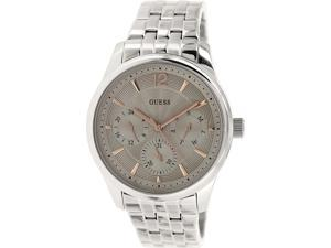 Guess Mens U0474G2 Silver Stainless-Steel Quartz Watch with Silver Dial