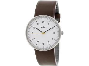 Braun Men's BN0021WHBRG Brown Leather Analog Quartz Watch with White Dial