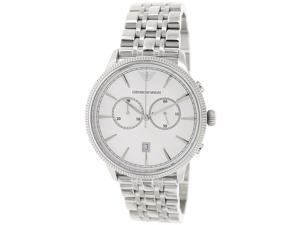 Emporio Armani Men's Classic AR1796 Silver Stainless-Steel Quartz Watch with Silver Dial