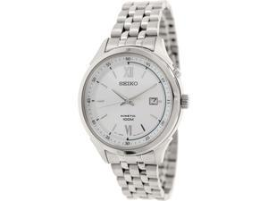 Seiko Men's SKA653 Silver Stainless-Steel Seiko Kinetic Watch with Silver Dial