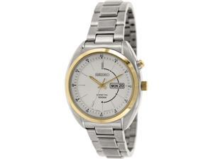 Seiko Men's SMY130P1S Silver Stainless-Steel Seiko Kinetic Watch with Silver Dial