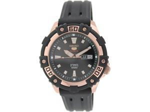 Seiko Men's 5 Automatic SRP480K Rose Gold Rubber Automatic Watch