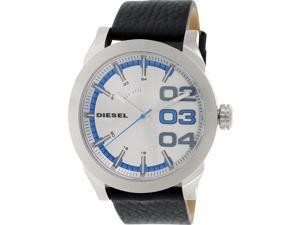 Diesel Mens Double Down DZ1676 Black Leather Quartz Watch