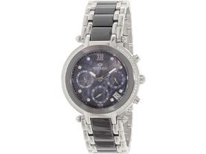 Precimax PX13343 Women's Glimmer Elite Ceramic Two-Tone Ceramic Swiss Chronograph Watch with Mother-Of-Pearl Dial