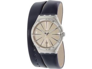 Swatch Women's Irony YWS408 Blue Leather Swiss Quartz Watch