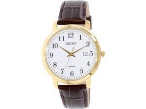 Seiko Men's SUR114 Brown Leather Quartz Watch