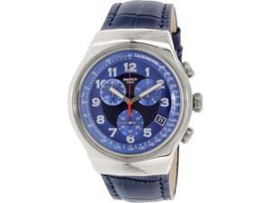 Swatch Men's Irony YOS449 Blue Leather Swiss Quartz Watch