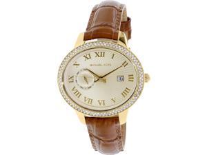 Michael Kors Women's MK2428 Gold Leather Analog Quartz Watch