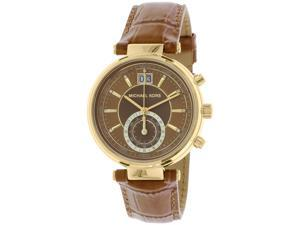 Michael Kors Women's Sawyer Gold Tone and Embossed Leather Watch