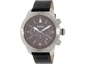 Fossil Men's BQ2057 Black Leather Quartz Watch