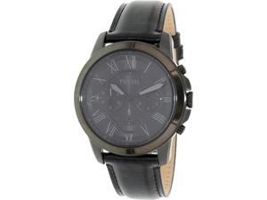 Fossil Men's Grant FS5132 Black Leather Quartz Watch