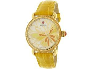 Michele Women's Garden Party MWW05D000015 Yellow Alligator Leather Swiss Quartz Watch