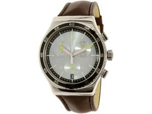 Swatch Men's Irony YVS429 Brown Leather Swiss Quartz Watch