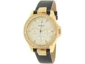Fossil Women's Riley ES3887 Rose Gold Leather Quartz Watch