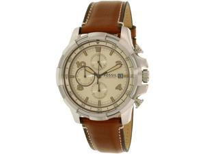 Fossil Men's Dean FS5130 Silver Leather Quartz Watch