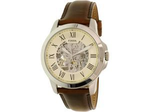 Fossil Men's Grant ME3099 Silver Leather Automatic Watch