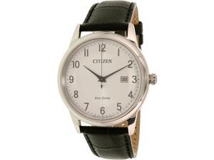 Citizen Men's AW1231-07A Black Leather Eco-Drive Watch