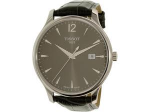 Tissot Men's Tradition T063.610.16.087.00 Grey Leather Swiss Automatic Watch