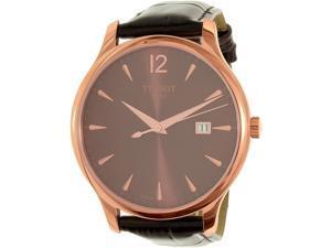 Tissot Men's Tradition T063.610.36.297.00 Brown Leather Swiss Quartz Watch