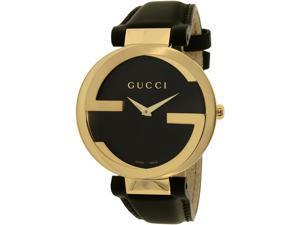 Gucci Women's Interlocking-G YA133326 Black Leather Swiss Quartz Watch
