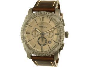 Fossil Men's Machine FS5215 Silver Leather Quartz Watch