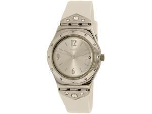 Swatch Women's Scintillating YLS450 White Rubber Swiss Quartz Watch