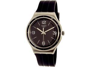 Swatch Men's Shiny Black YGS132 Silver/Black Rubber Swiss Quartz Watch