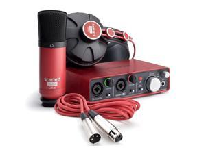 Focusrite Scarlett 2i2 Studio Bundle. USB 2.0 Audio Interface, 2-in/2-out, with 2 Mic/Instrument Preamps, 24-bit/96kHz, Scarlett Plug-in Suite, Condenser Mic, XLR mic cable, Headphones, & Cubase LE 6.