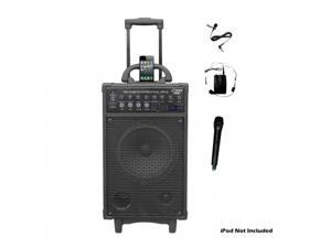 Pyle PWMA890UI 500 Watt Dual Channel Wireless Rechageable Portable PA System With iPod/iPhone Dock, FM/USB/SD,