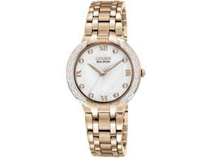 Citizen EM0123-50A Bella Eco-Drive Rose Gold Tone Stainless Steel Case and Bracelet Silver Tone Dial