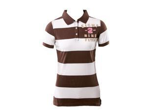 Abercrombie & Fitch Eight2 White And Brown Boys Stripe Polo Shirt Size: Large