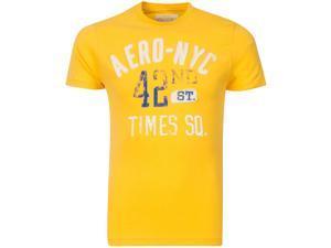 Aeropostale NYC 42nd St  Cotton Yellow Mens T-shirt Size XS