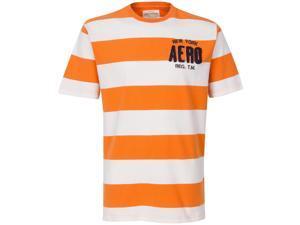 Aeropostale New York   Orange And White Striped Mens Tshirt  Size:XXl